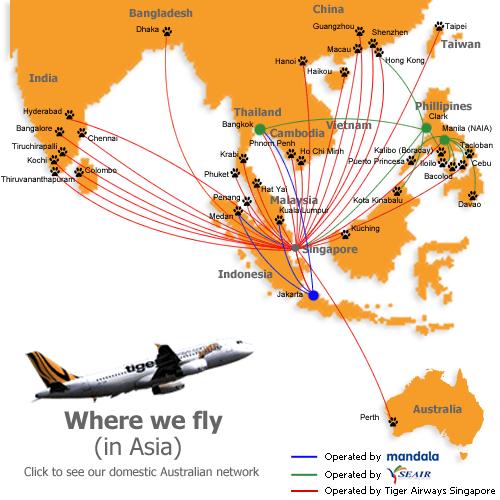 Bản đồ bay Tiger Air