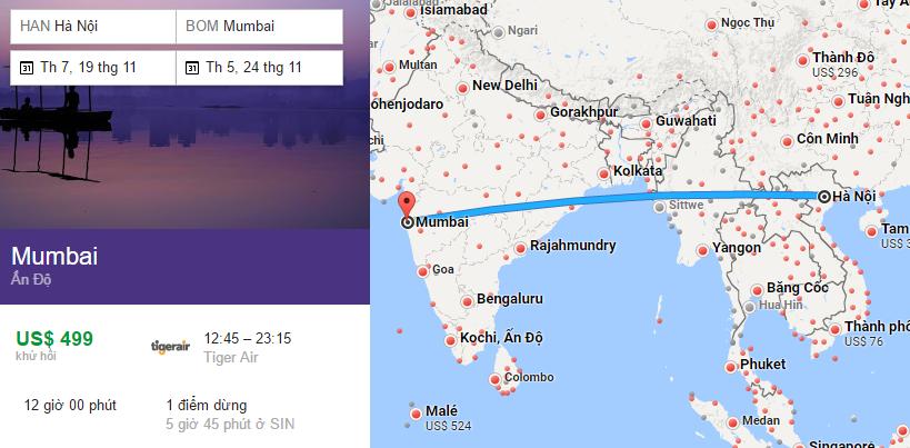 Tham khảo hành trình bay từ Hà Nội đến Mumbai