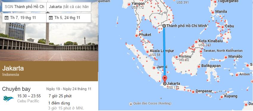 Tham khảo hành trình bay từ TP HCM đến Jakarta