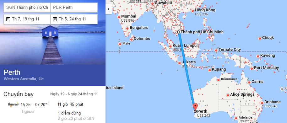 Tham khảo hành trình bay từ Hà Nội đến Perth