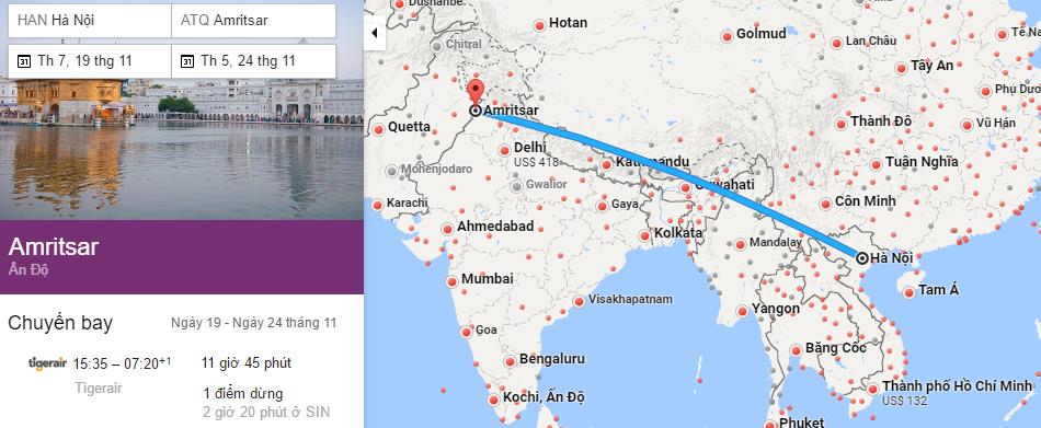 Tham khảo hành trình bay từ Hà Nội đến Amritsar