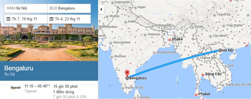 Tham khảo hành trình bay Hà Nội đi Bangalore