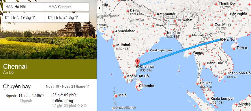 Tham khảo hành trình bay từ Hà Nội đi Chennai
