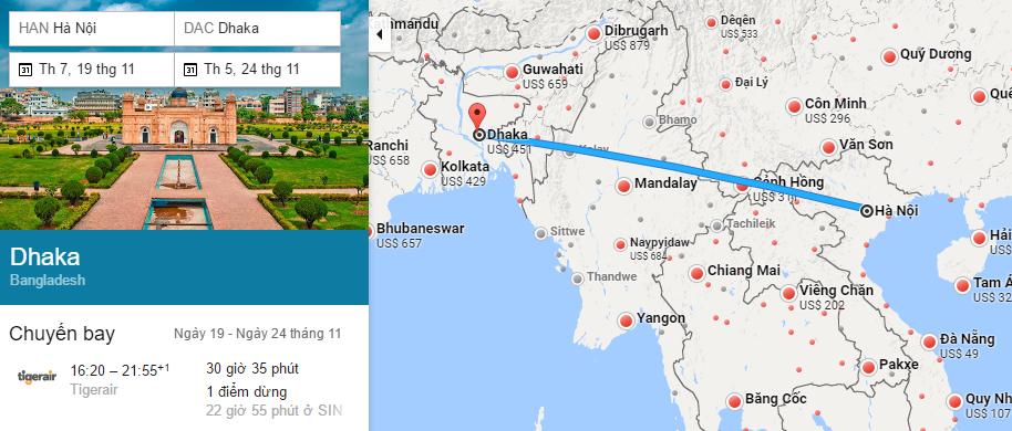 Tham khảo hành trình bay từ Hà Nội đi Dhaka