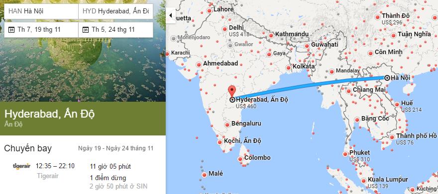 Tham khảo hành trình bay từ Hà Nội đi Hyderabad