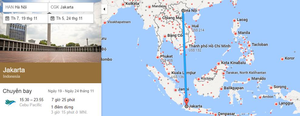 Tham khảo hành trình bay từ Hà Nội đến Jakarta