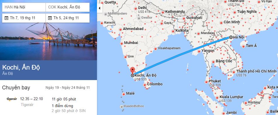 Tham khảo hành trình bay từ Hà Nội đi Kochi