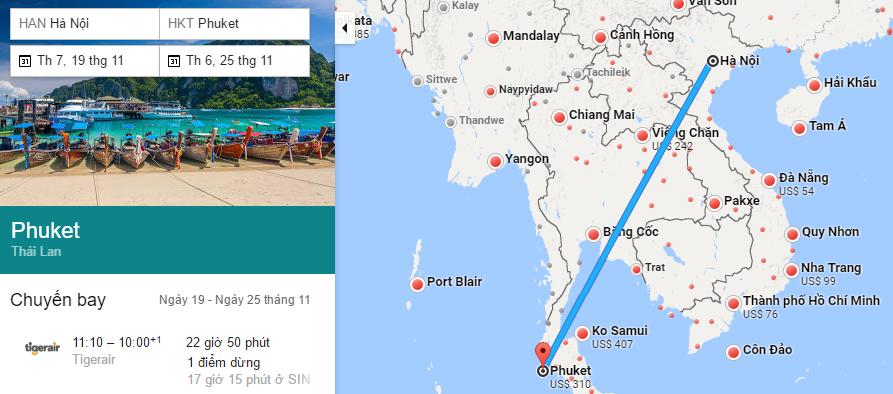 Tham khảo hành trình bay từ Hà Nội đi Phuket