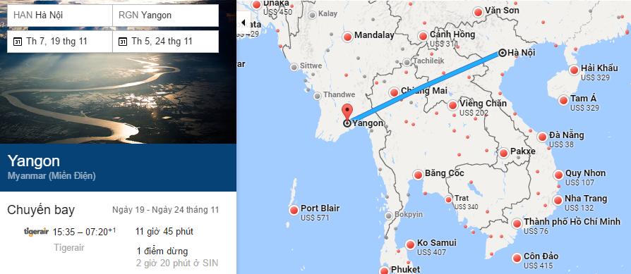 Tham khảo hành trình bay từ Hà Nội đi Yangon