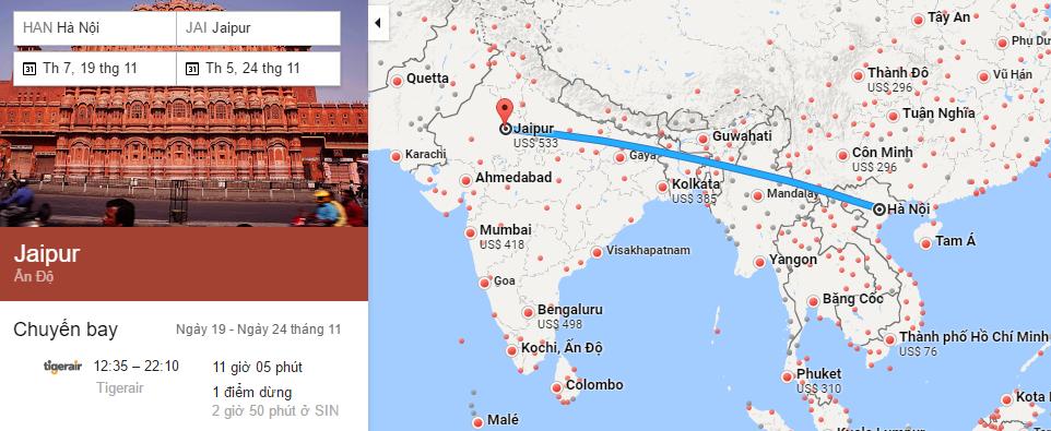 Tham khảo hành trình bay từ Hà Nội đến Jaipur