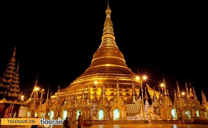 Chùa Swedago  Myanmar có sự biến đổi màu sắc trong mỗi thời điểm